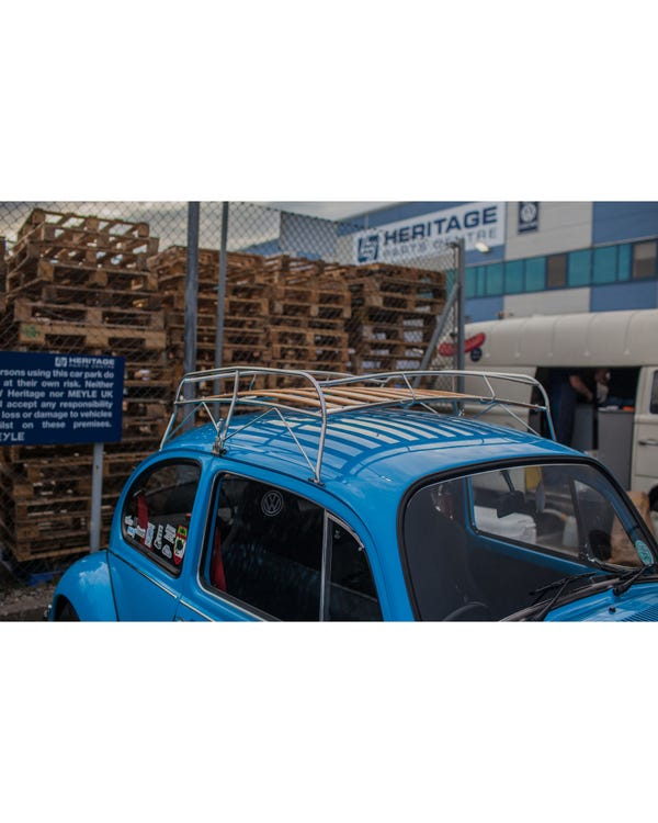 Roof Rack in Stainless Steel with Wooden Slats