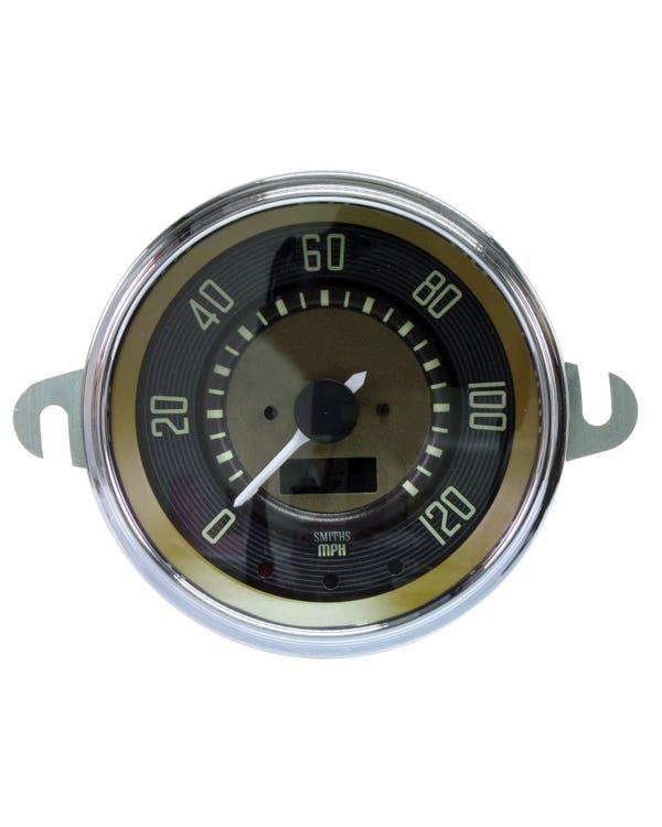 Elektronischer Tachometer mit 120 m/ph Skala, braunes Display