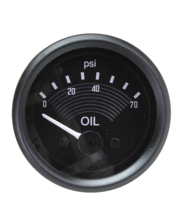 Öldruckanzeige im OE-Design, 70PSI,  12 Volt, schwarz, 52mm