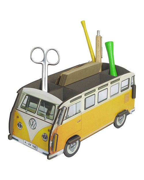 Desk Tidy Pencil Box Splitscreen Van Yellow and White Samba