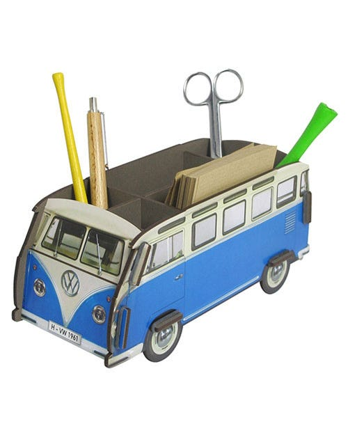 Desk Tidy Pencil Box Splitscreen Van Blue and White Samba