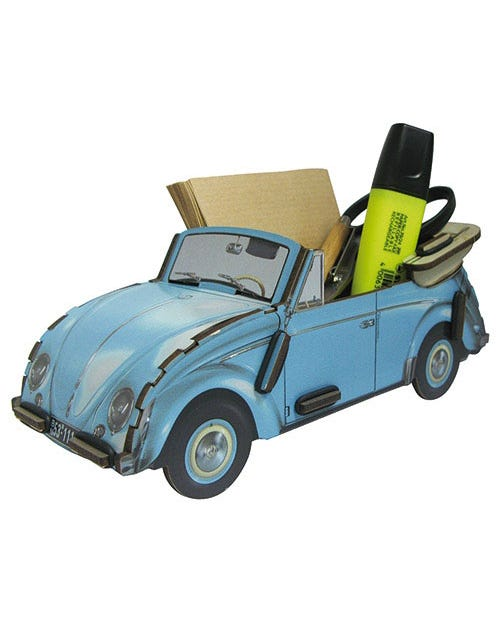Desk Tidy Pencil Box Beetle Blue