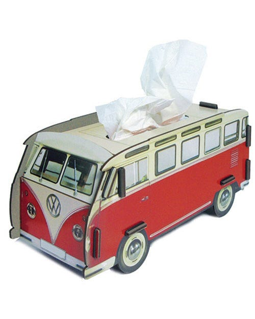 Desk Tidy Tissue Box Splitscreen Van Red and White Samba