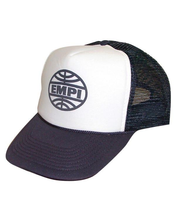 Trucker Cap White with Blue Peek Screen Printed with EMPI Logo