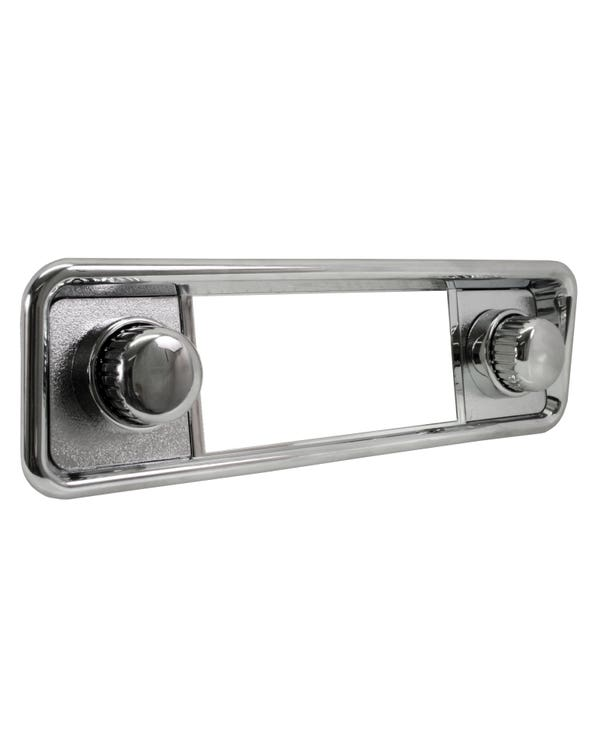 Chrome Hooded Stereo Faceplate including Knobs and Escutcheons