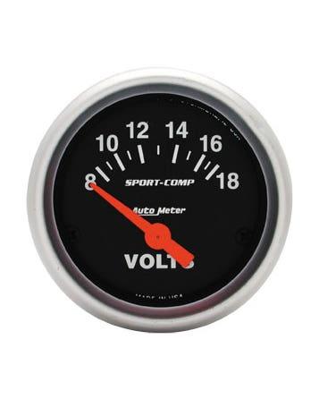Autometer Sport Comp Voltmeter Gauge 8-18 Volts 2 1/16 Inch