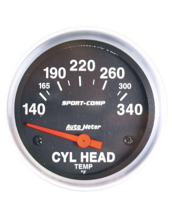 Autometer Sport Comp Cylinder Head Temperature Gauge with Sender 2 5/8 Inch