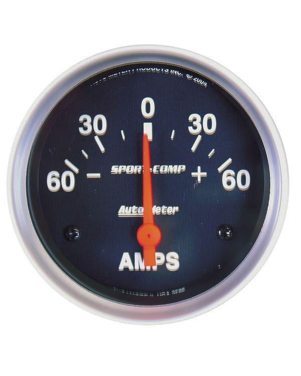 Autometer Sport Comp Ammeter Gauge 60 Amp 2 5/8 Inch