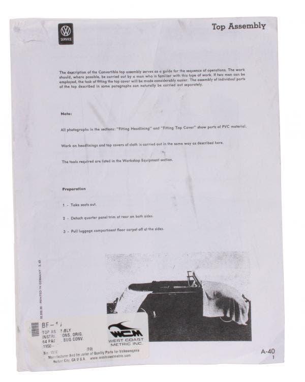 Cabriolet Hood Manual (No return Possible)