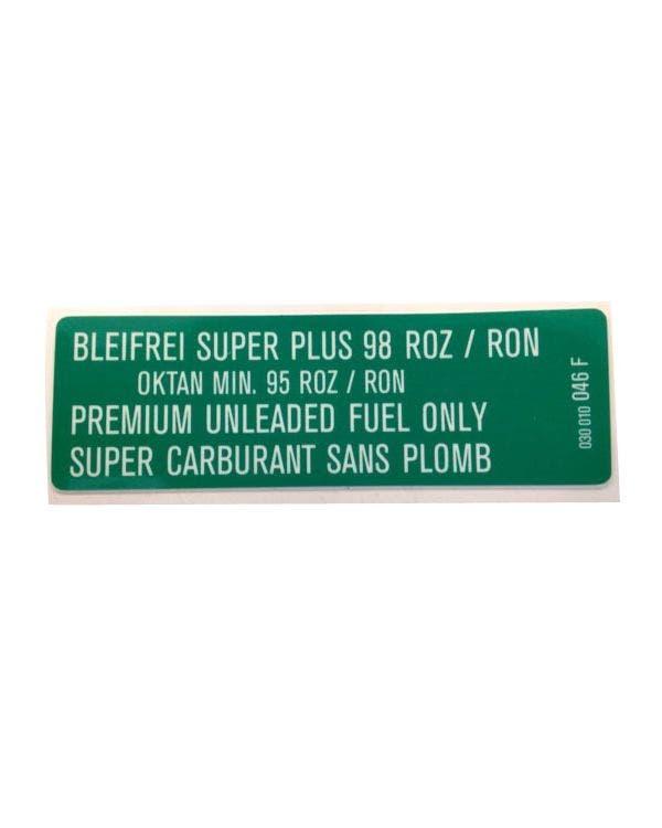Sticker Premium Unleaded Fuel G60