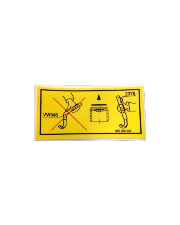 Sticker Tappet/Rocker Cover Warning 34x70mm