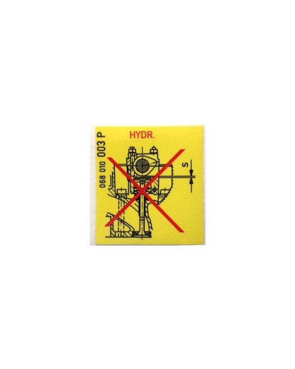 Tappet Warning Sticker 44x44mm