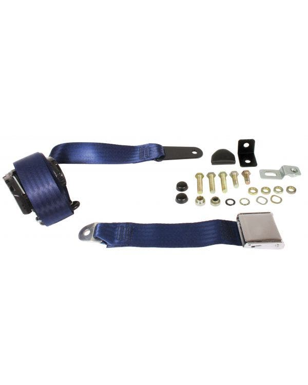 Front Seat Belt 3 Point Inertia with Chrome Buckle and Dark Blue Webbing