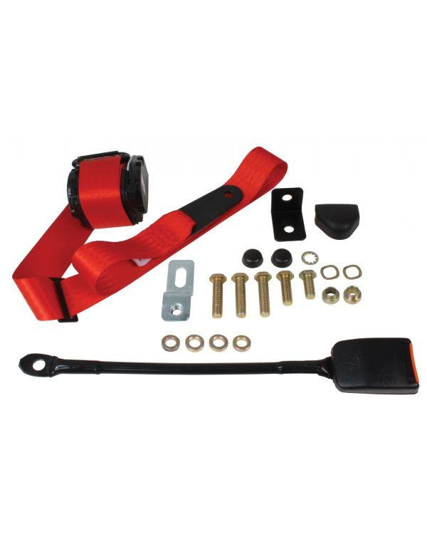 Front Seat Belt 3 Point Inertia with Modern Buckle and Red Webbing