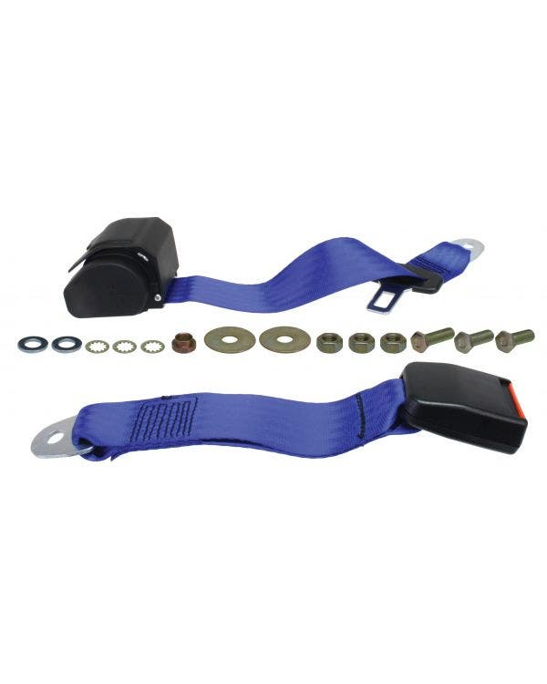 Rear Seat Belt 3 Point Inertia with Modern Buckle and Blue Webbing