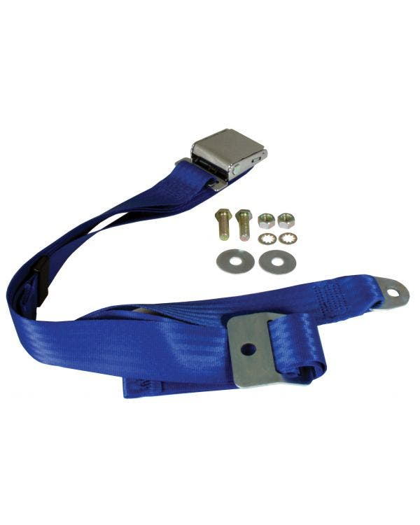 Lap Belt 2 Point Static with Chrome Buckle and Blue Webbing