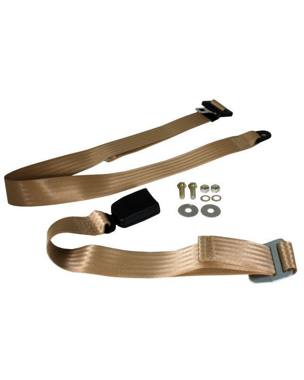 Lap Belt 2 Point Static with Modern Buckle and Cream Webbing