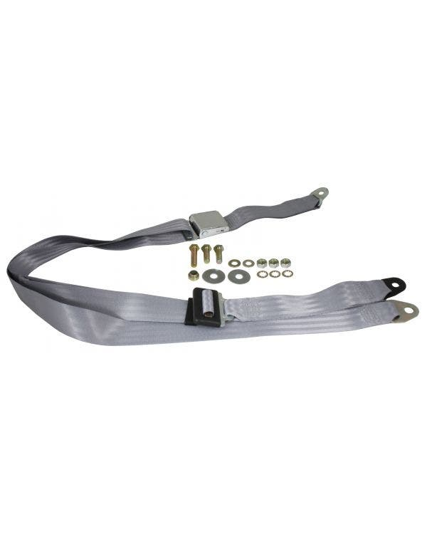Front Seat Belt 3 Point Static with Chrome Buckle and Grey Webbing