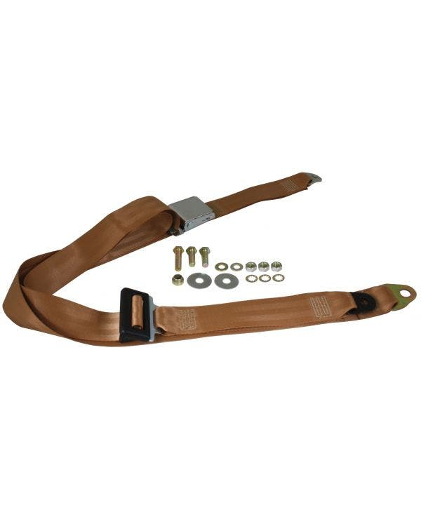 Front Seat Belt 3 Point Static with Chrome Buckle and Tan Webbing
