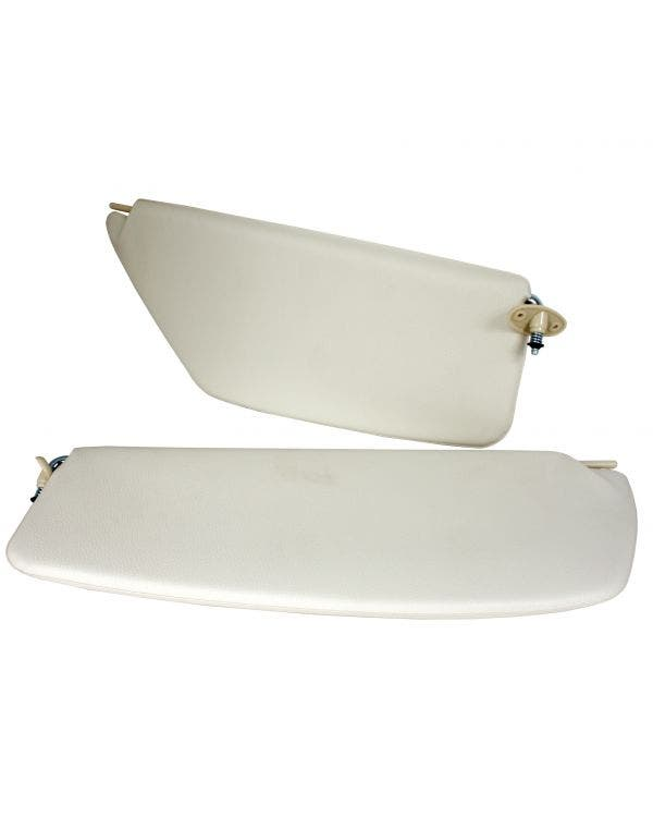 Sun Visors in White with a Right Hand Mirror
