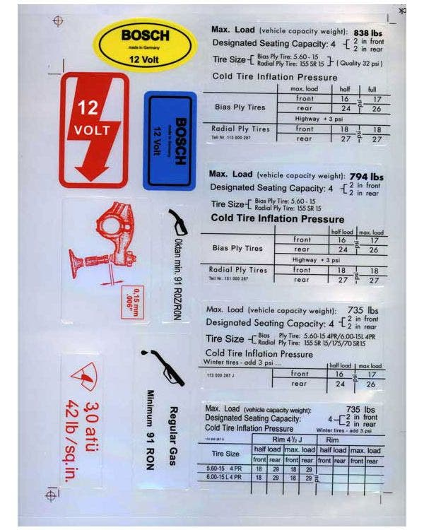 Information Stickers, 12v Warning, Fuel, Tyres and More