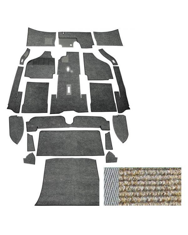 Carpet set,coupe,LHD,65-67, oatmeal, narrow weave.*