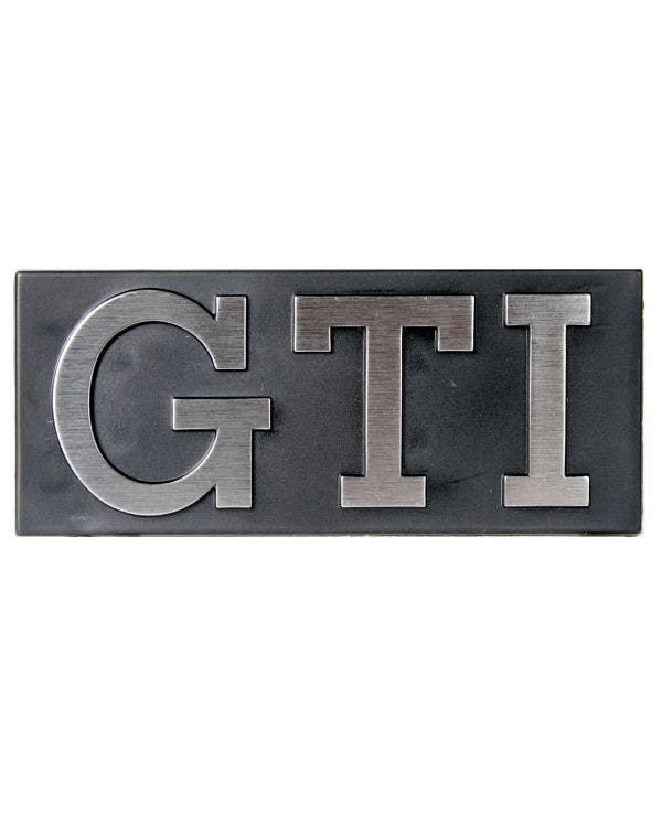 Grille Badge - GTI Silver Text with Black Surround