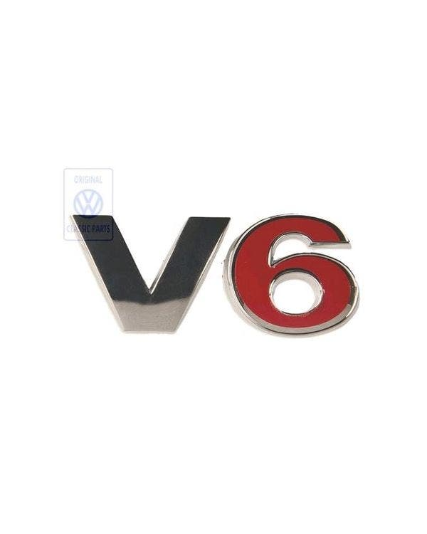 Rear V6 Badge in Red and Chrome