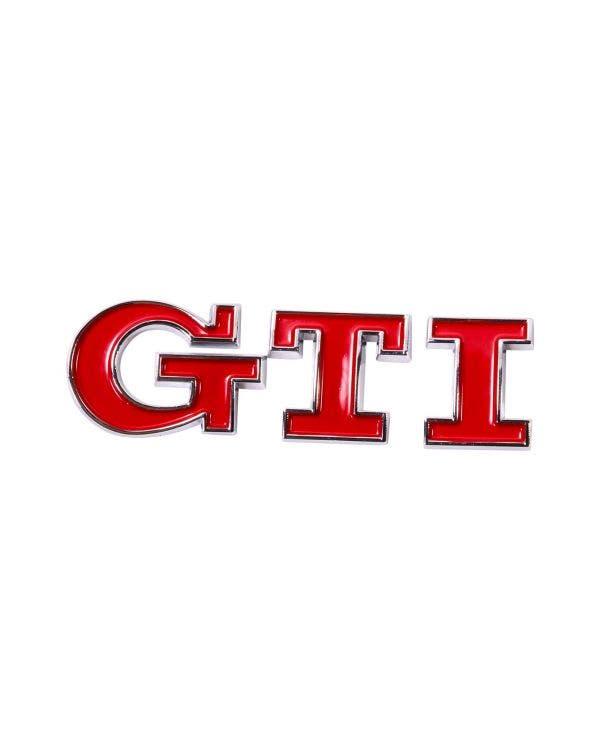 Rear Badge Red GTI Script