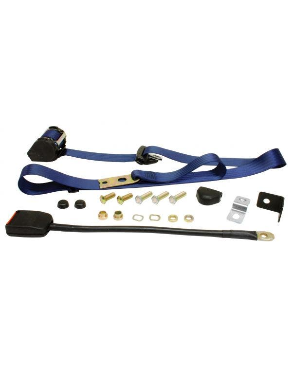 Front Seat Belt 3 Point Inertia with Modern Buckle and Dark Blue Webbing for Walk Through