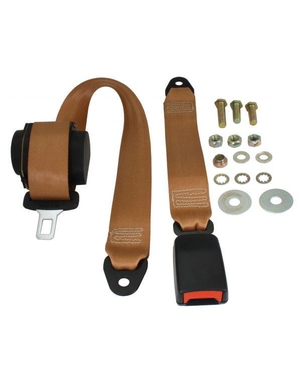 Rear Seat Belt 3 Point Inertia with Modern Buckle and Tan Webbing