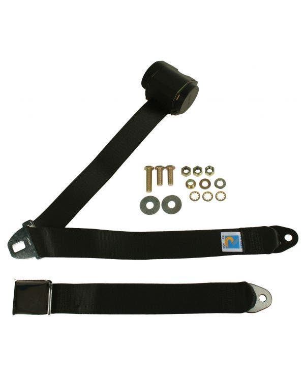 Rear Seat Belt 3 Point Inertia with Chrome Buckle and Black Webbing