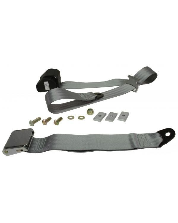 Rear Seat Belt 3 Point Inertia with Chrome Buckle and Grey Webbing