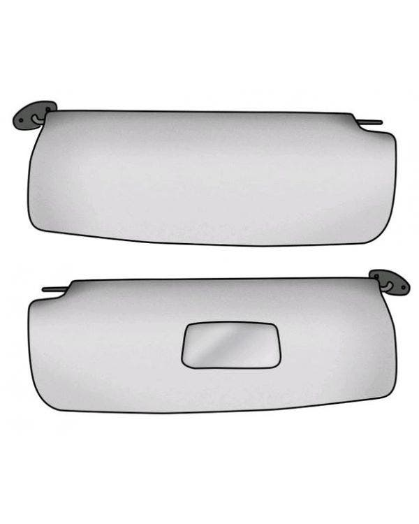 Sun visors in White for Left Hand Drive with Vanity Mirror