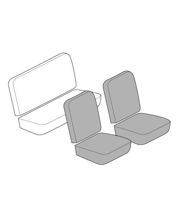 Conjunto de fundas para asientos delanteros de respaldo bajo, en cualquier combinación de tela o vinilo