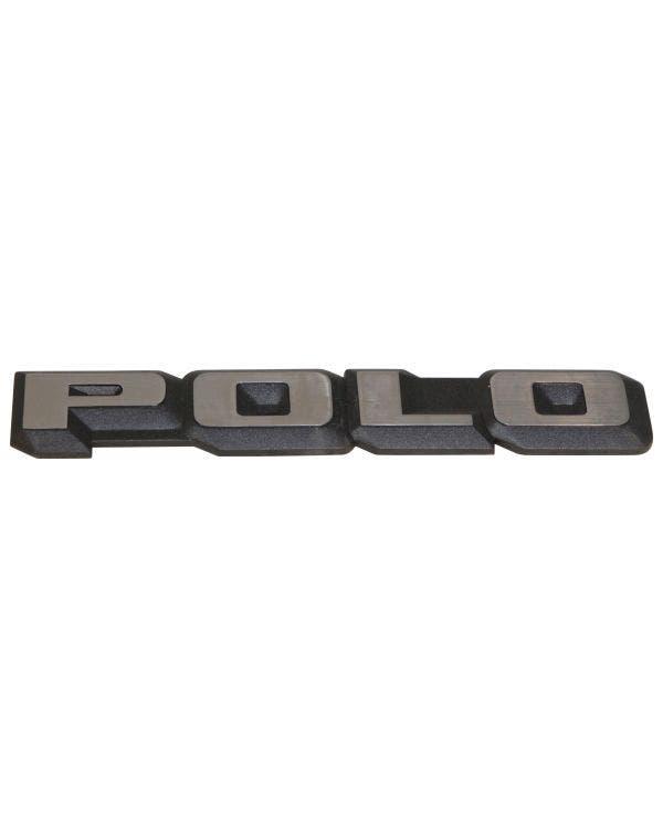 Emblem für die Heckklappe, Polo Schriftzug, schwarz und chrom