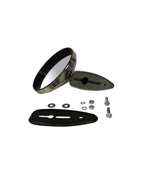 Round Durant Style Chrome Wing Mirror