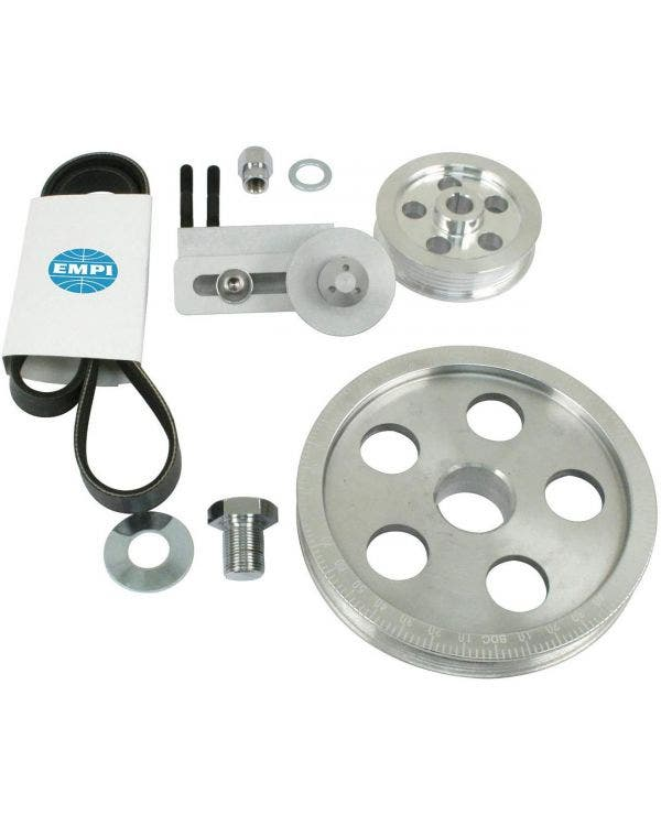 EMPI Serpentine Pulley/Belt Kit, Polished