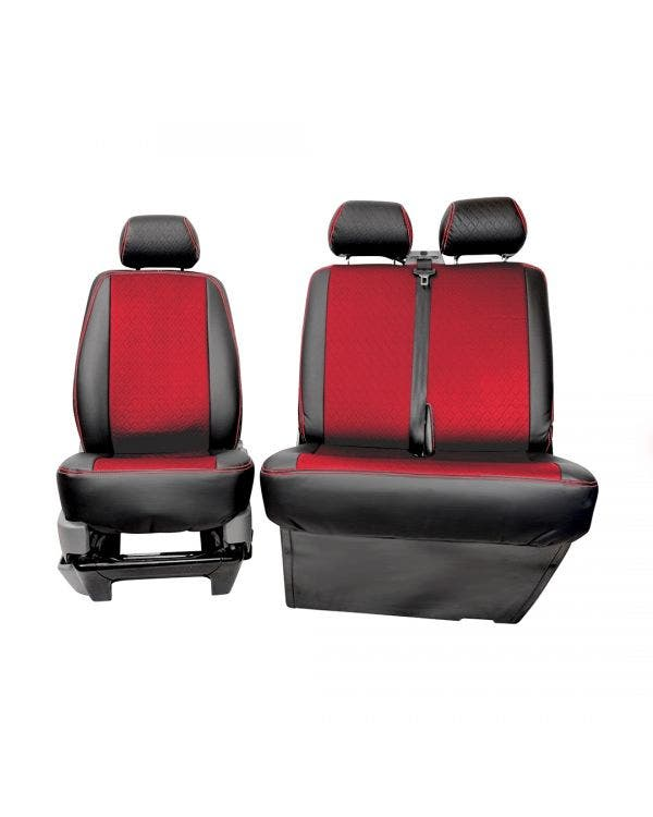 Front Seat Covers Single and Bench Black Sides Red Diamond Pattern with Red Stitching