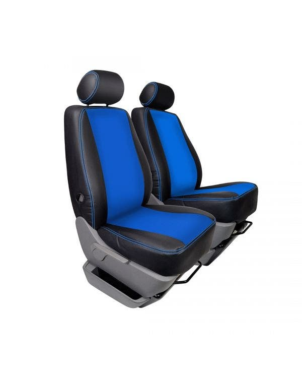 Front Seat Covers Single Seats Black Sides Blue Centre and Stitching