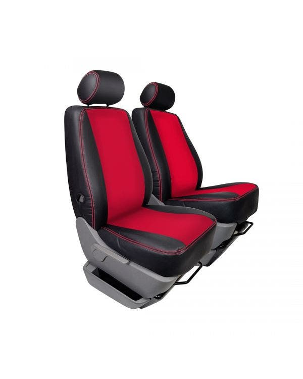 Single Front Seat Covers Black Sides Red Centre and Stitching