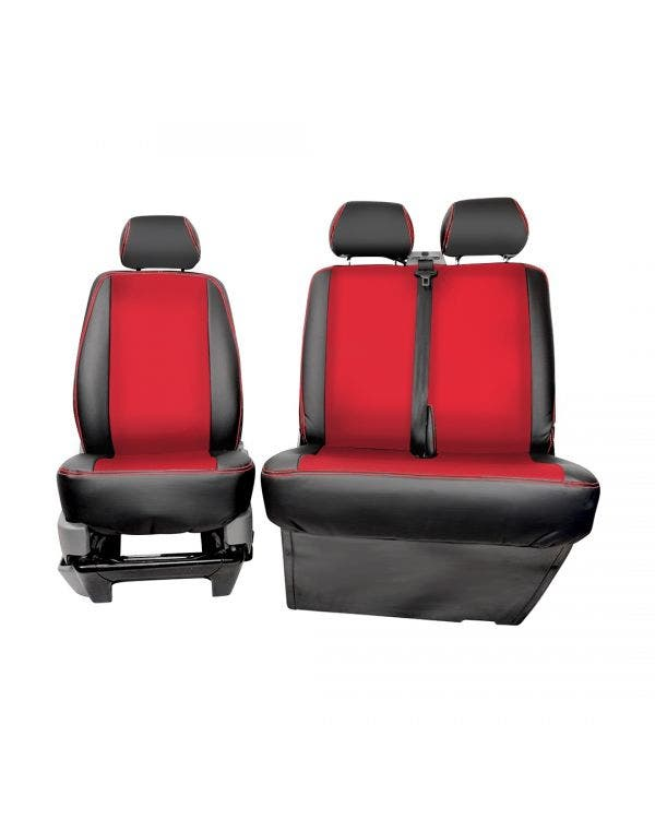 Bench Front Seat Covers Black Sides Red Centre and Stitching
