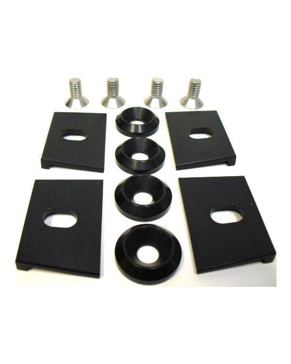 Conjunto de abrazadera de depósito de combustible de aluminio laminado, negro