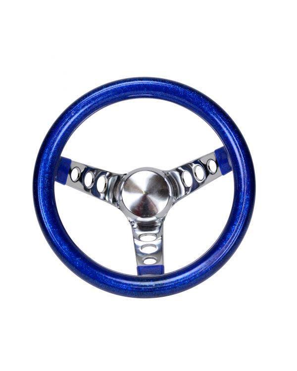 Steering Wheel 10'' Blue Metal Flake for 3 Bolt Boss