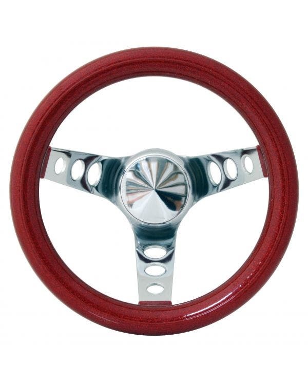 Steering Wheel 10'' Red Metal Flake for 3 Bolt Boss