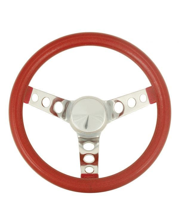 Steering Wheel 11.5'' Red Metal Flake for 3 Bolt Boss