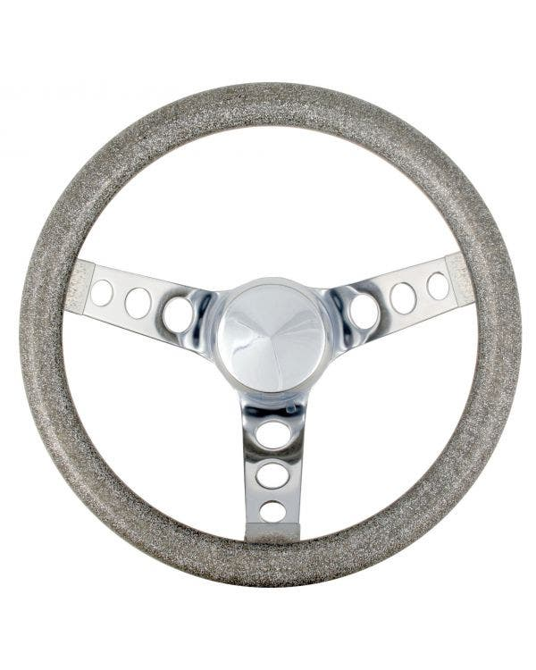 Steering Wheel 11.5'' Silver Metal Flake for 3 Bolt Boss