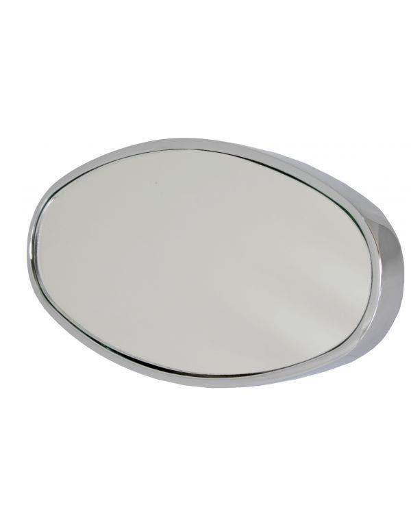 Chrome Oval Interior Rear Mirror Stick-On