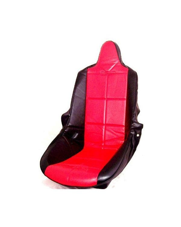 High Back Seat Cover Black Vinyl with Red Square Pattern Insert Universal