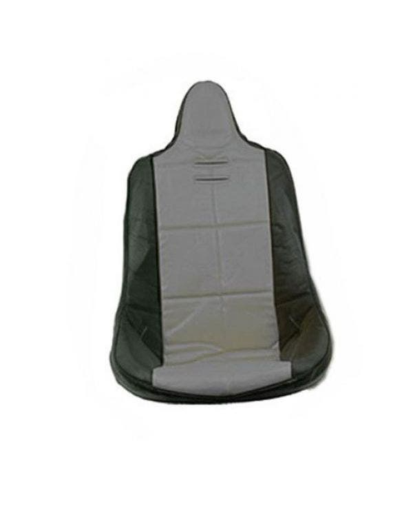 High Back Seat Cover Black Vinyl with Grey Square Pattern Insert Universal